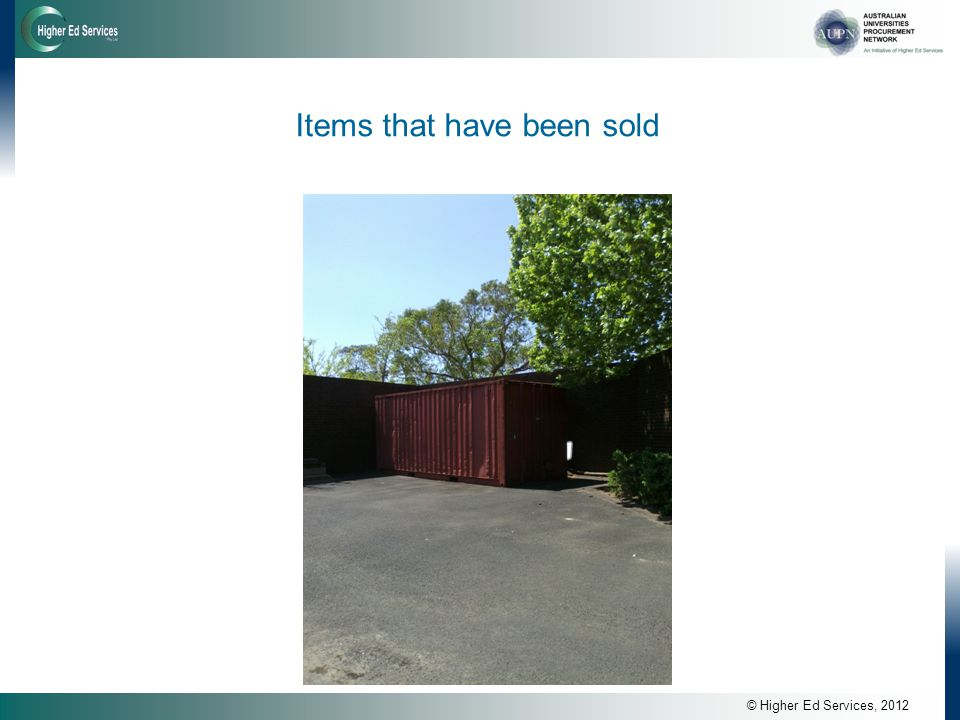 © Higher Ed Services, 2012 Items that have been sold
