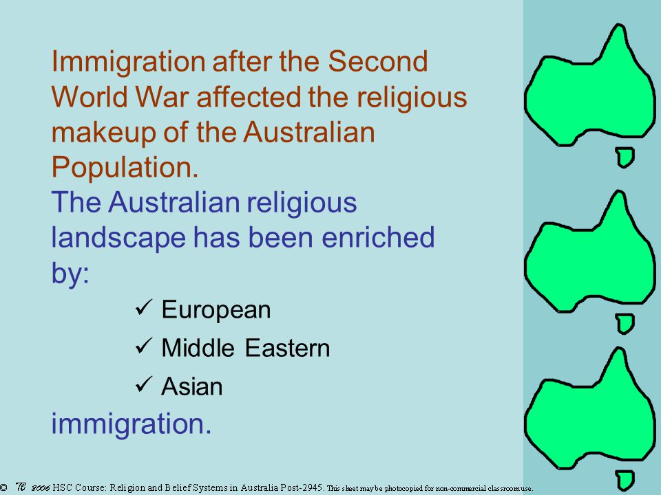 Immigration after the Second World War affected the religious makeup of the Australian Population.