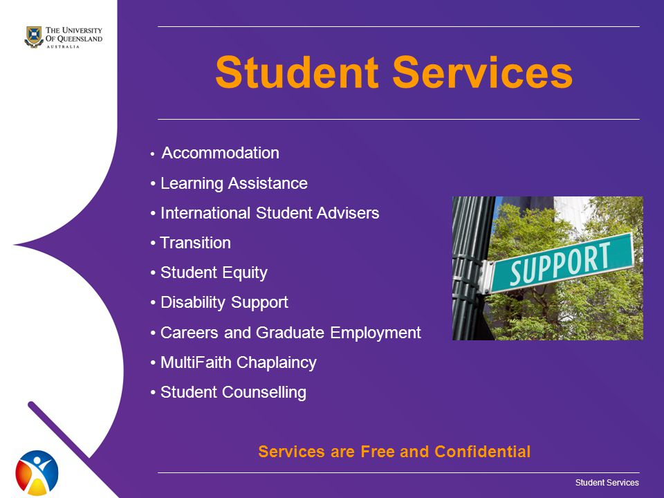 Accommodation Learning Assistance International Student Advisers Transition Student Equity Disability Support Careers and Graduate Employment MultiFaith Chaplaincy Student Counselling Services are Free and Confidential Student Services