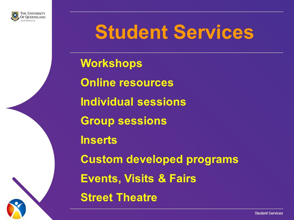Student Services Workshops Online resources Individual sessions Group sessions Inserts Custom developed programs Events, Visits & Fairs Street Theatre Student Services