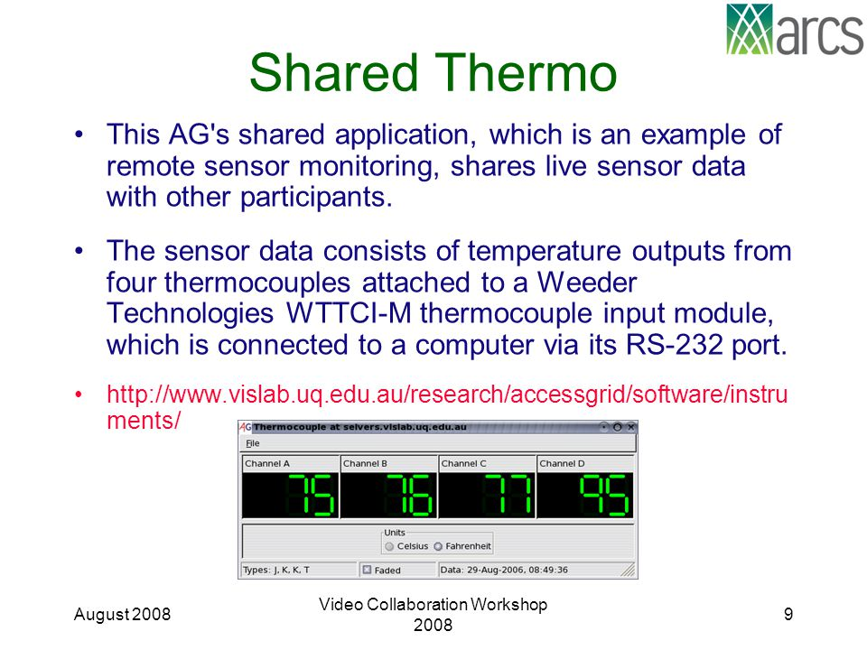 Shared Thermo This AG s shared application, which is an example of remote sensor monitoring, shares live sensor data with other participants.