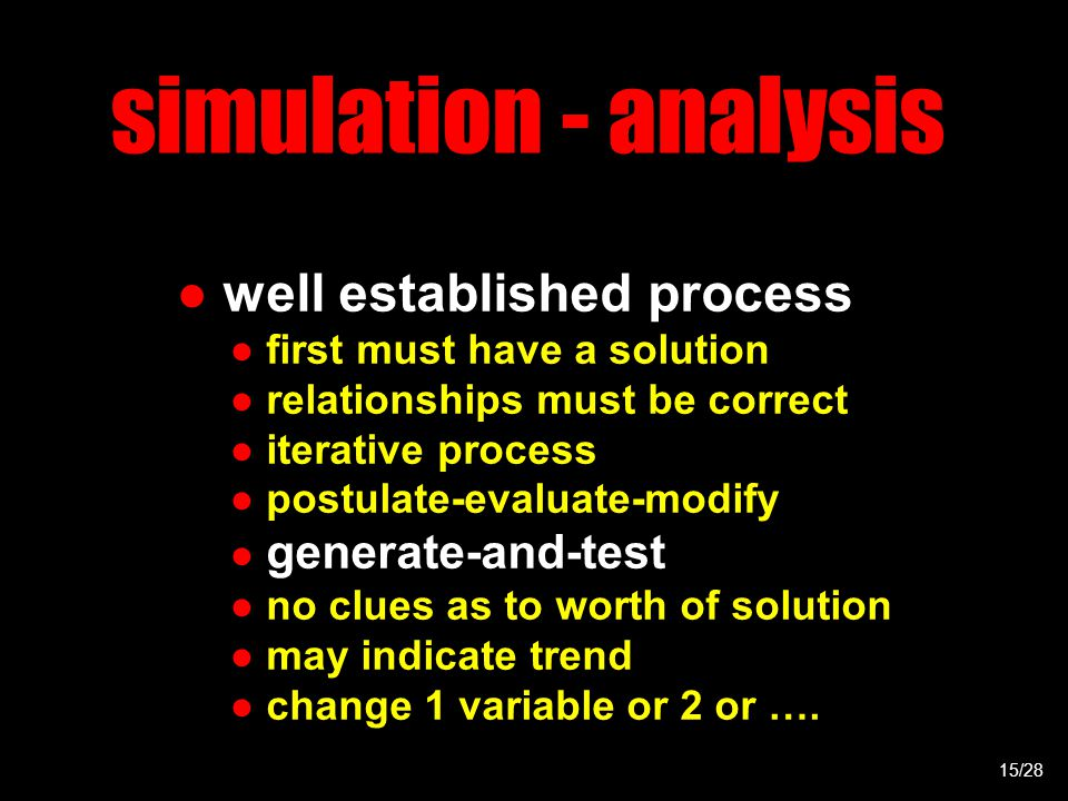 simulation - analysis ● well established process ● first must have a solution ● relationships must be correct ● iterative process ● postulate-evaluate-modify ● generate-and-test ● no clues as to worth of solution ● may indicate trend ● change 1 variable or 2 or ….