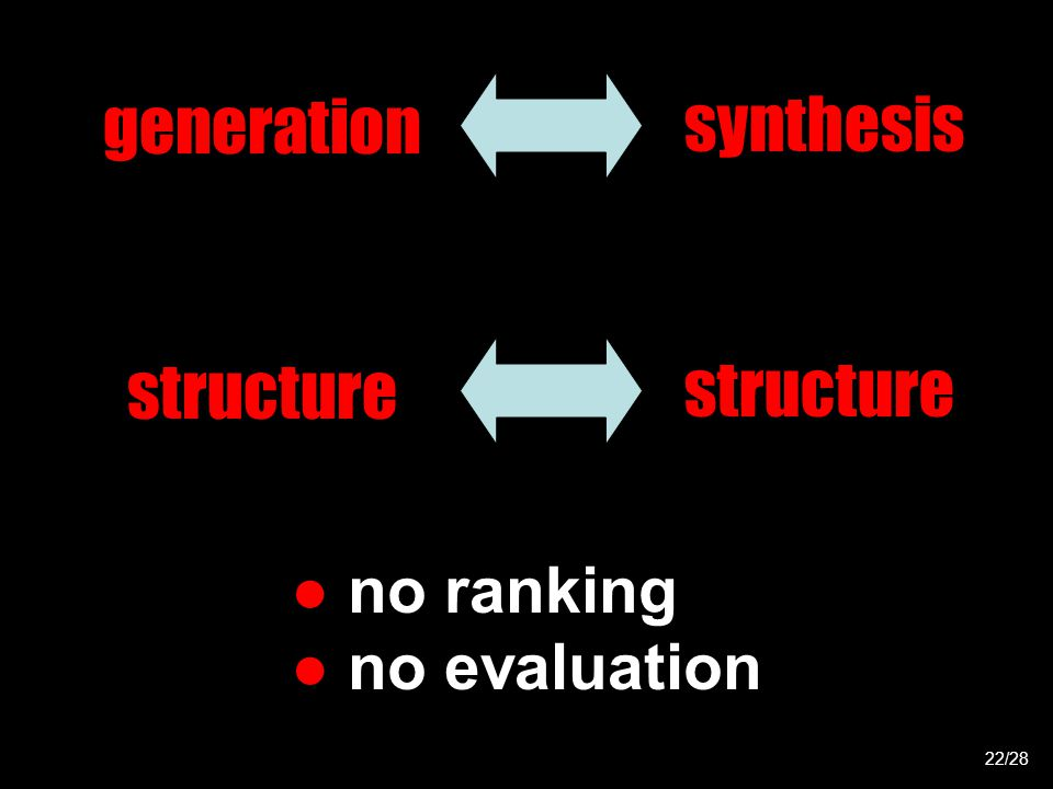 22/28 generation synthesis structure ● no ranking ● no evaluation