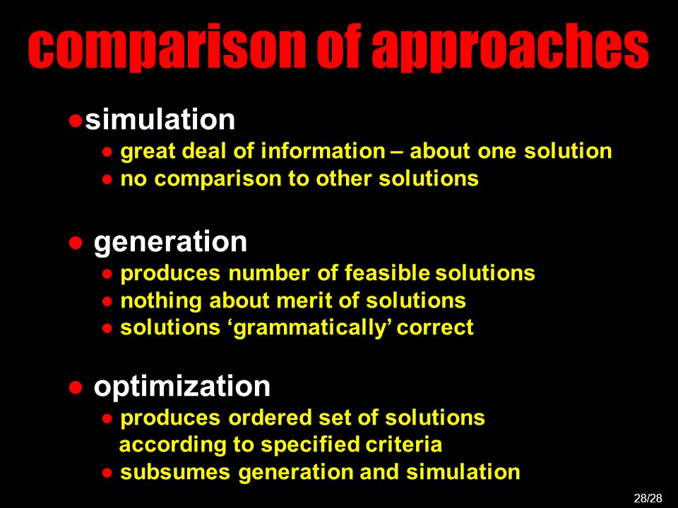 comparison of approaches ●simulation ● great deal of information – about one solution ● no comparison to other solutions ● generation ● produces number of feasible solutions ● nothing about merit of solutions ● solutions 'grammatically' correct ● optimization ● produces ordered set of solutions according to specified criteria ● subsumes generation and simulation 28/28