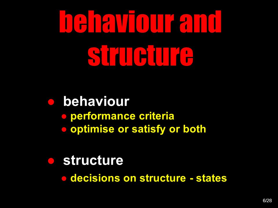 behaviour and structure ● behaviour ● performance criteria ● optimise or satisfy or both ● structure ● decisions on structure - states 6/28