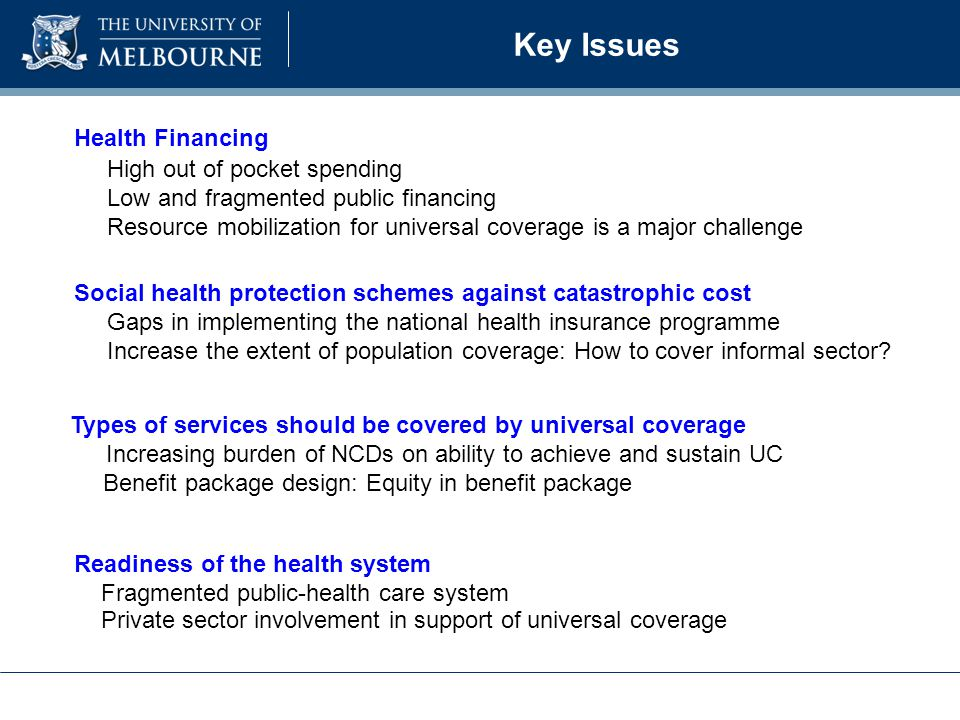Key Issues Health Financing High out of pocket spending Low and fragmented public financing Resource mobilization for universal coverage is a major challenge Social health protection schemes against catastrophic cost Gaps in implementing the national health insurance programme Increase the extent of population coverage: How to cover informal sector.