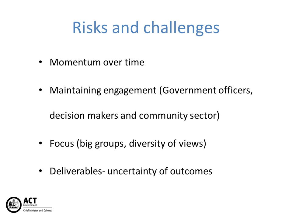 Risks and challenges Momentum over time Maintaining engagement (Government officers, decision makers and community sector) Focus (big groups, diversity of views) Deliverables- uncertainty of outcomes