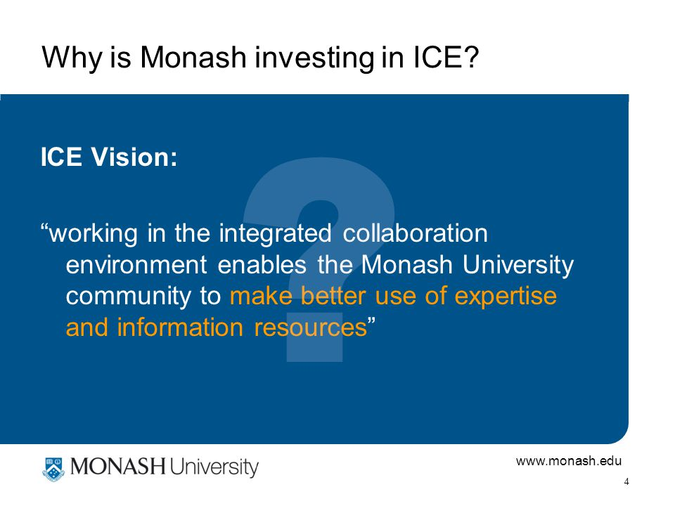 www.monash.edu 4 Why is Monash investing in ICE.