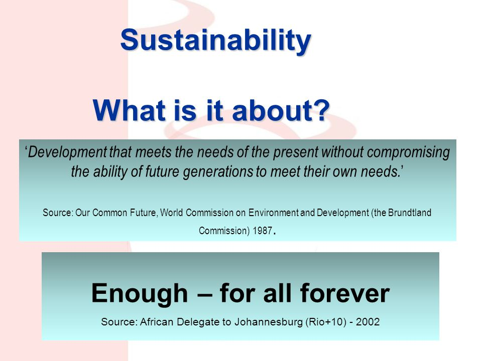 Sustainability What is it about.