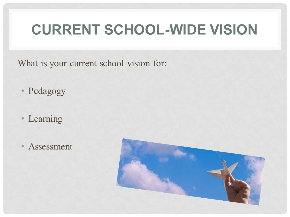 CURRENT SCHOOL-WIDE VISION What is your current school vision for: Pedagogy Learning Assessment