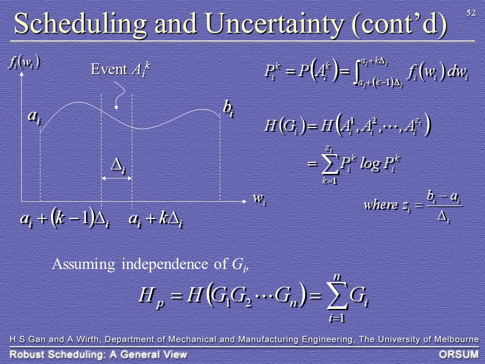 52 Scheduling and Uncertainty (cont'd) Event A i k Assuming independence of G i,