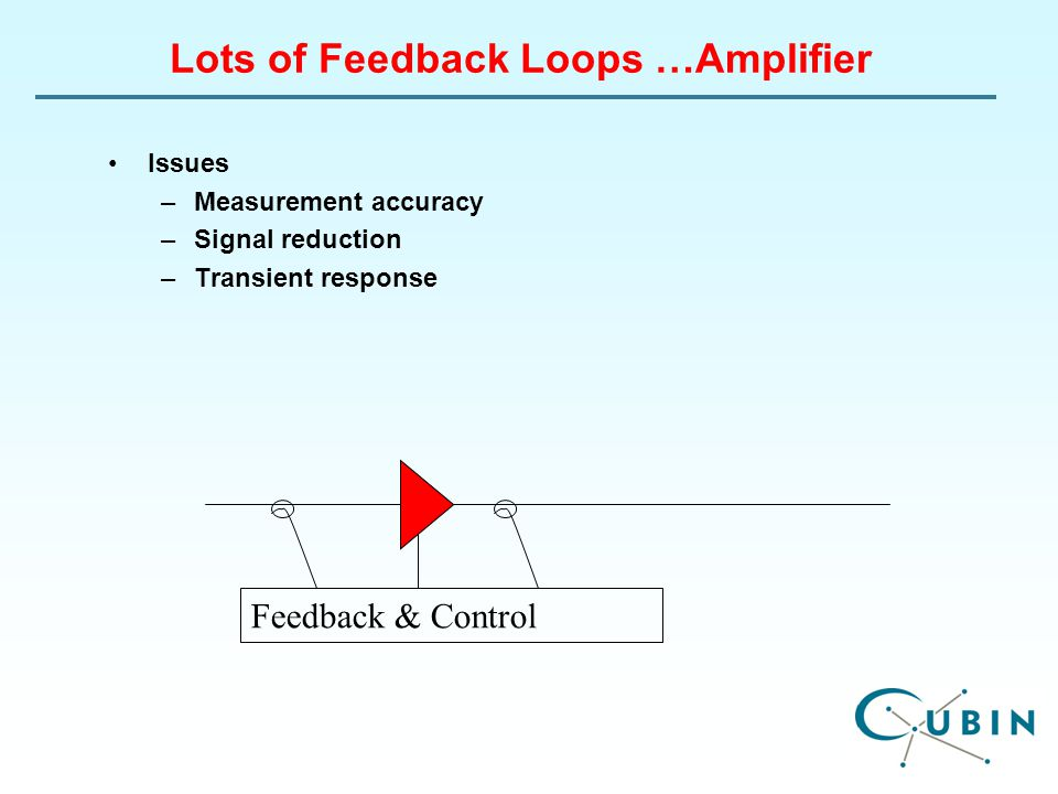 Lots of Feedback Loops …Amplifier Issues –Measurement accuracy –Signal reduction –Transient response Feedback & Control