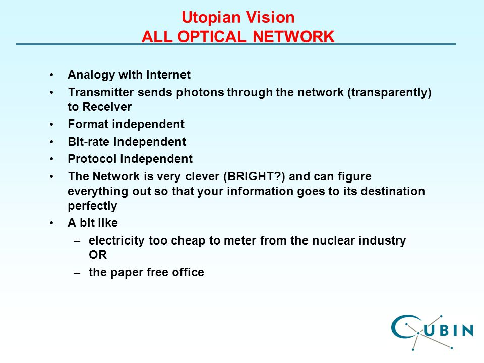 Utopian Vision ALL OPTICAL NETWORK Analogy with Internet Transmitter sends photons through the network (transparently) to Receiver Format independent Bit-rate independent Protocol independent The Network is very clever (BRIGHT ) and can figure everything out so that your information goes to its destination perfectly A bit like –electricity too cheap to meter from the nuclear industry OR –the paper free office