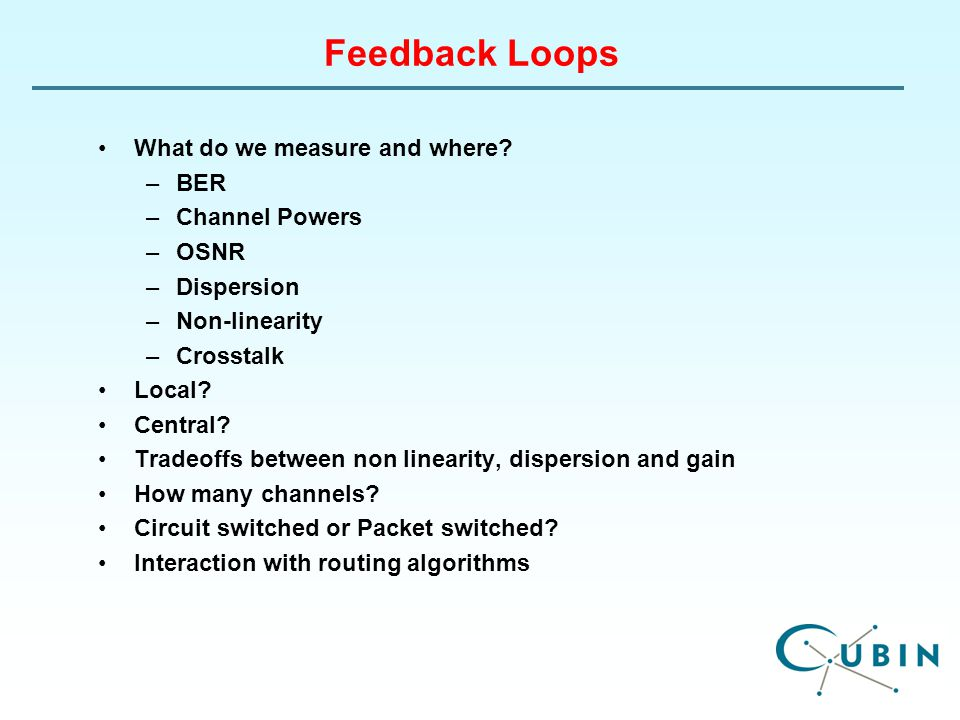 Feedback Loops What do we measure and where.