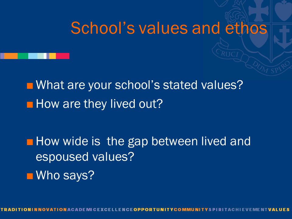 School's values and ethos  What are your school's stated values.