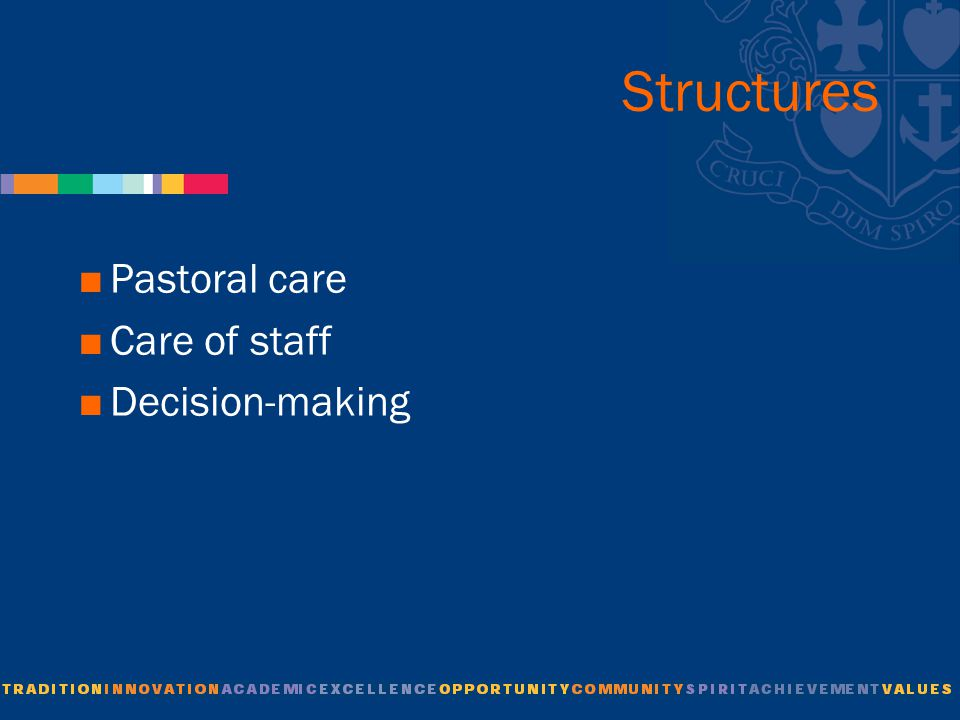 Structures  Pastoral care  Care of staff  Decision-making