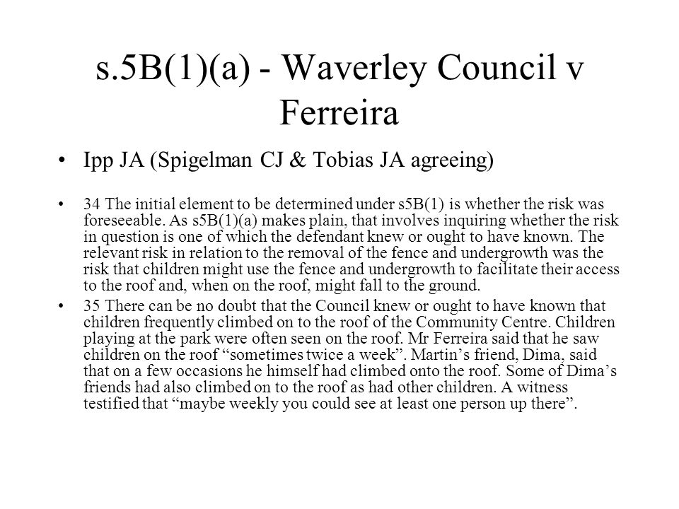 s.5B(1)(a) - Waverley Council v Ferreira Ipp JA (Spigelman CJ & Tobias JA agreeing) 34 The initial element to be determined under s5B(1) is whether the risk was foreseeable.