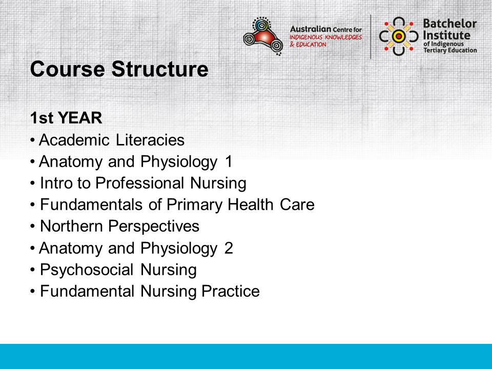 1st YEAR Academic Literacies Anatomy and Physiology 1 Intro to Professional Nursing Fundamentals of Primary Health Care Northern Perspectives Anatomy and Physiology 2 Psychosocial Nursing Fundamental Nursing Practice Course Structure