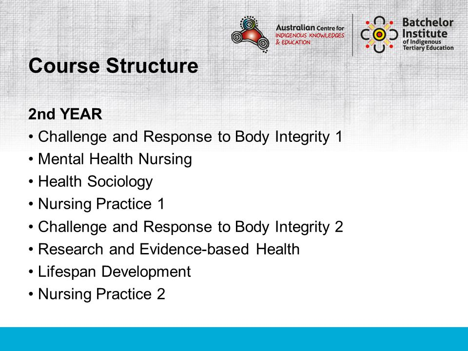 2nd YEAR Challenge and Response to Body Integrity 1 Mental Health Nursing Health Sociology Nursing Practice 1 Challenge and Response to Body Integrity 2 Research and Evidence-based Health Lifespan Development Nursing Practice 2 Course Structure