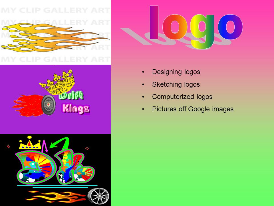 Designing logos Sketching logos Computerized logos Pictures off Google images