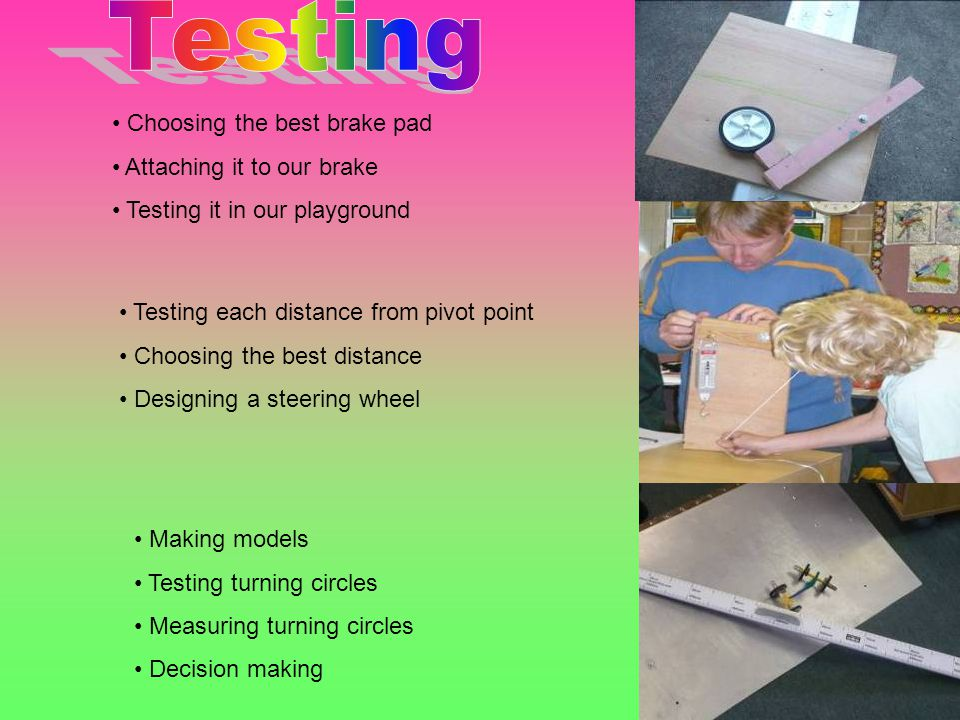 Making models Testing turning circles Measuring turning circles Decision making Choosing the best brake pad Attaching it to our brake Testing it in our playground Testing each distance from pivot point Choosing the best distance Designing a steering wheel