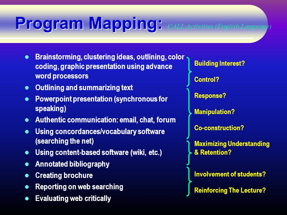 Program Mapping: Program Mapping: CALL Activities (English Language) Brainstorming, clustering ideas, outlining, color coding, graphic presentation using advance word processors Outlining and summarizing text Powerpoint presentation (synchronous for speaking) Authentic communication: email, chat, forum Using concordances/vocabulary software (searching the net) Using content-based software (wiki, etc.) Annotated bibliography Creating brochure Reporting on web searching Evaluating web critically Building Interest.