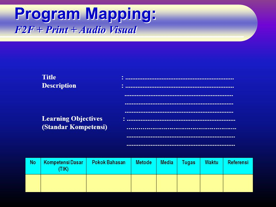 Program Mapping: F2F + Print + Audio Visual Title:...............................................................