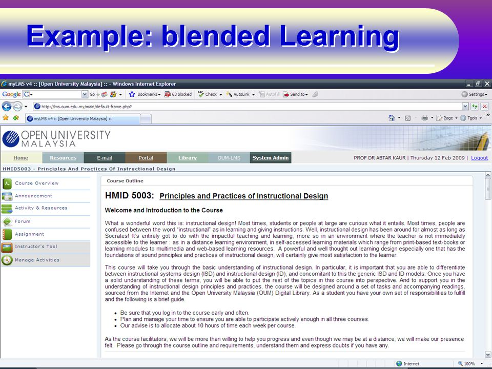 Example: blended Learning