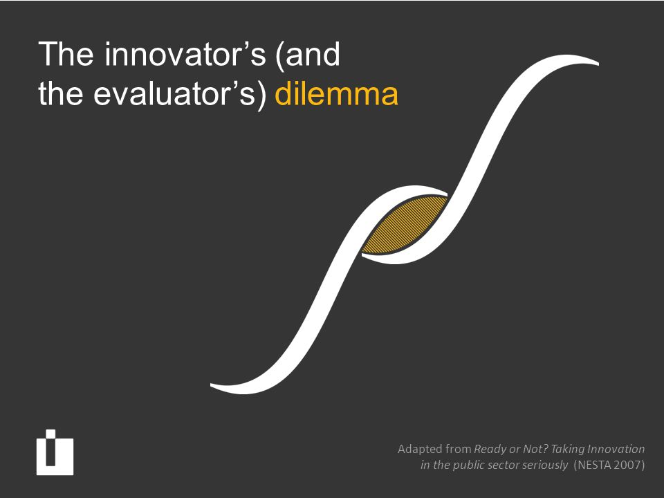 The innovator's (and the evaluator's) dilemma Adapted from Ready or Not.