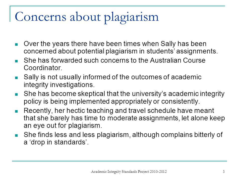 Concerns about plagiarism Over the years there have been times when Sally has been concerned about potential plagiarism in students' assignments.