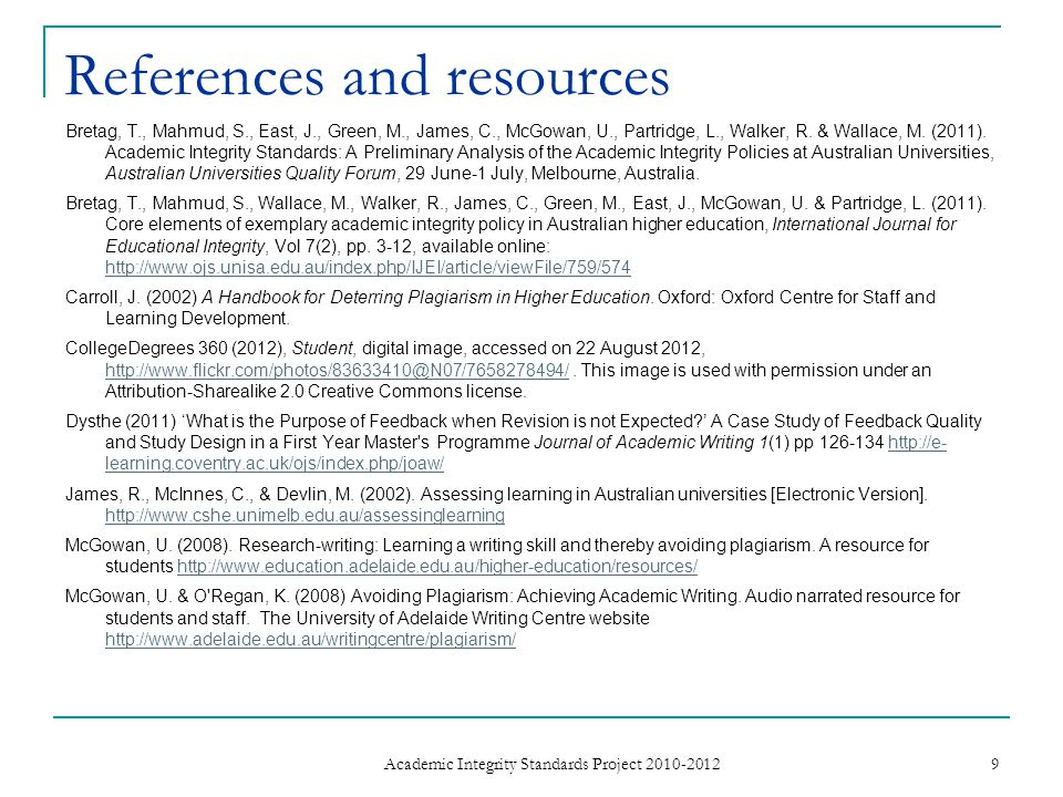 References and resources Bretag, T., Mahmud, S., East, J., Green, M., James, C., McGowan, U., Partridge, L., Walker, R.