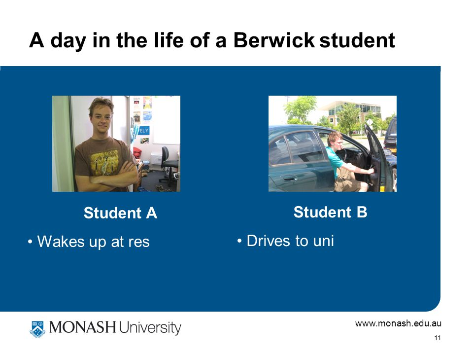www.monash.edu.au 11 A day in the life of a Berwick student Student A Wakes up at res Student B Drives to uni