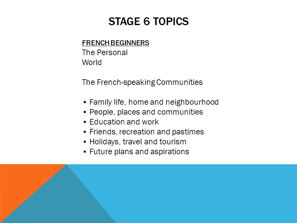 STAGE 6 TOPICS FRENCH BEGINNERS The Personal World The French-speaking Communities Family life, home and neighbourhood People, places and communities Education and work Friends, recreation and pastimes Holidays, travel and tourism Future plans and aspirations