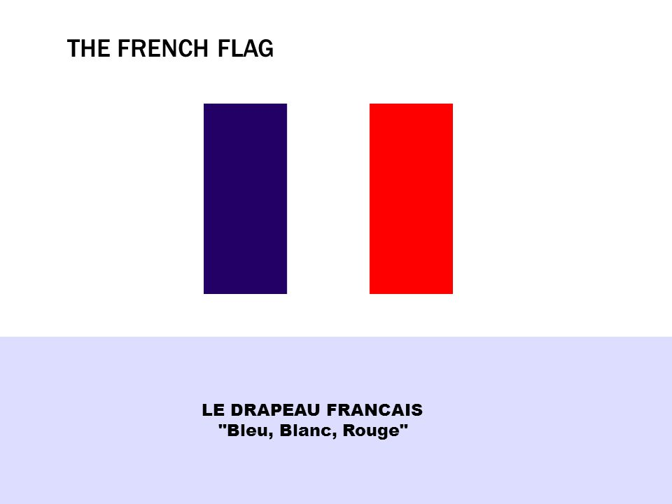 THE FRENCH FLAG LE DRAPEAU FRANCAIS Bleu, Blanc, Rouge