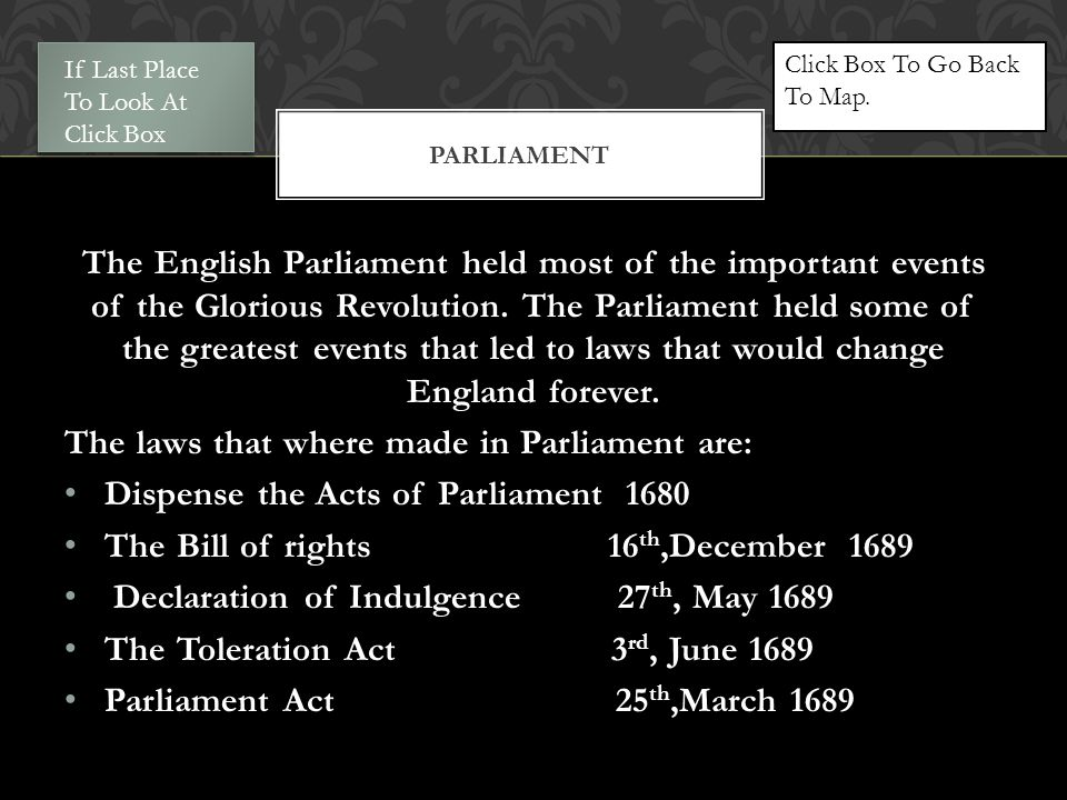 The English Parliament held most of the important events of the Glorious Revolution.