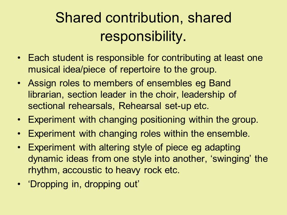 Shared contribution, shared responsibility.