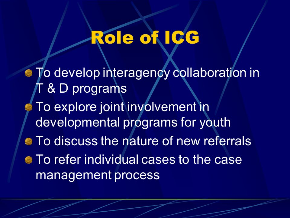 Role of ICG To develop interagency collaboration in T & D programs To explore joint involvement in developmental programs for youth To discuss the nature of new referrals To refer individual cases to the case management process