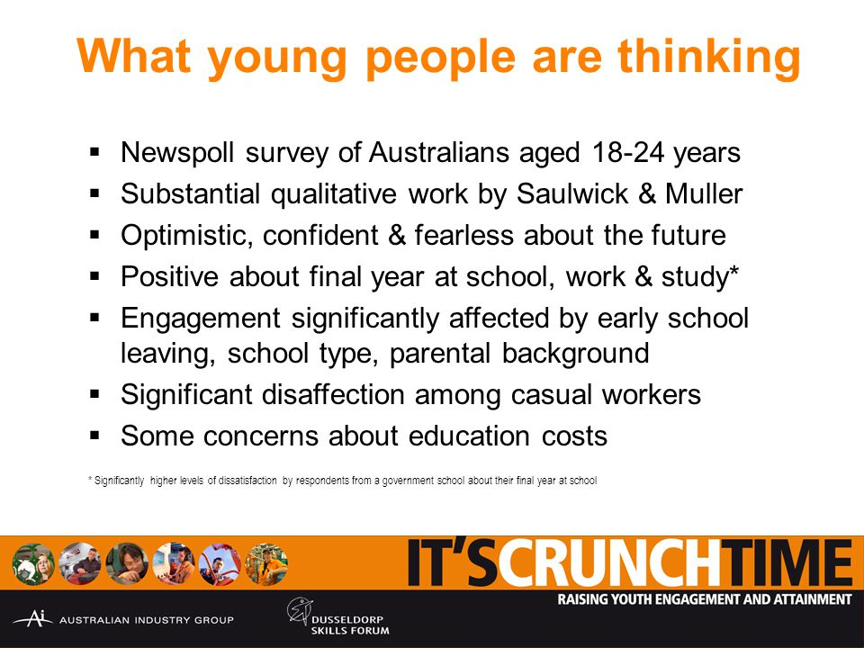 What young people are thinking  Newspoll survey of Australians aged 18-24 years  Substantial qualitative work by Saulwick & Muller  Optimistic, confident & fearless about the future  Positive about final year at school, work & study*  Engagement significantly affected by early school leaving, school type, parental background  Significant disaffection among casual workers  Some concerns about education costs * Significantly higher levels of dissatisfaction by respondents from a government school about their final year at school