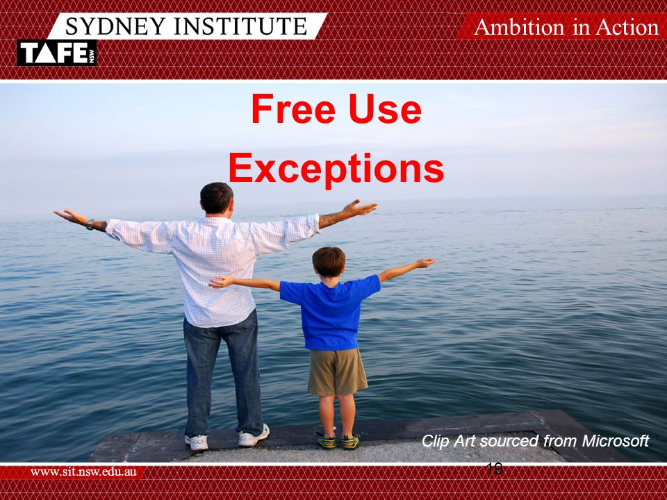 Ambition in Action www.sit.nsw.edu.au 19 Free Use Exceptions Clip Art sourced from Microsoft.'