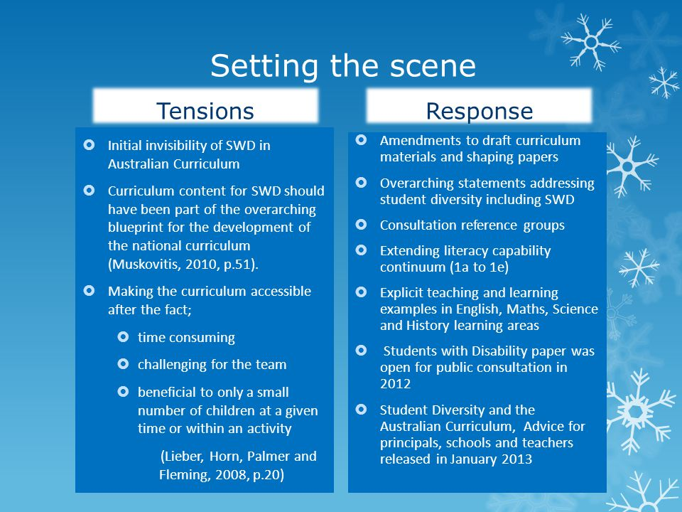 Setting the scene Tensions  Initial invisibility of SWD in Australian Curriculum  Curriculum content for SWD should have been part of the overarching blueprint for the development of the national curriculum (Muskovitis, 2010, p.51).