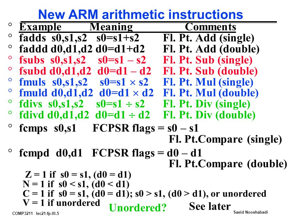 COMP3211 lec21-fp-III.5 Saeid Nooshabadi New ARM arithmetic instructions °Example MeaningComments °fadds s0,s1,s2 s0=s1+s2Fl.