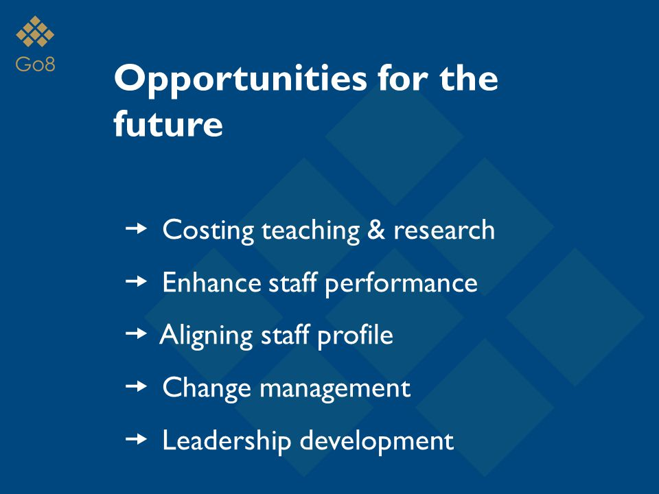 Opportunities for the future  Costing teaching & research  Enhance staff performance  Aligning staff profile  Change management  Leadership development
