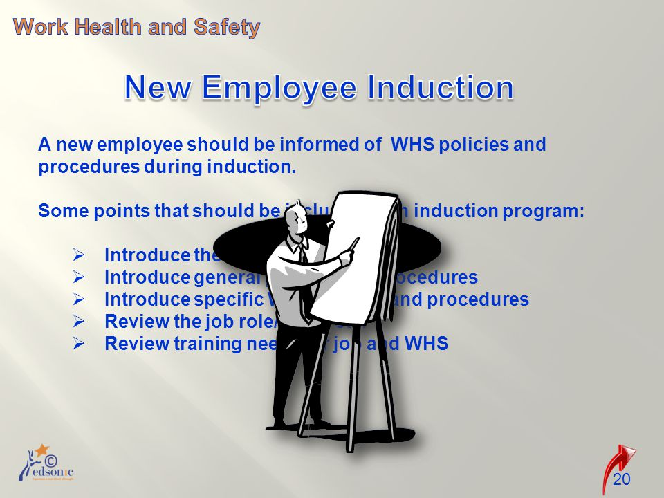 A new employee should be informed of WHS policies and procedures during induction.