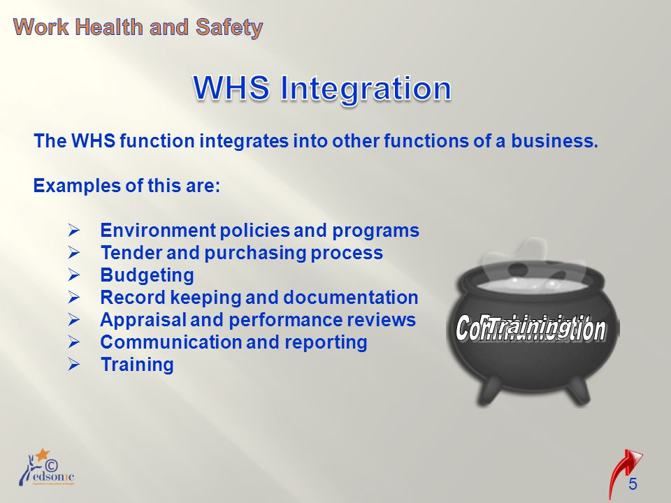 The WHS function integrates into other functions of a business.