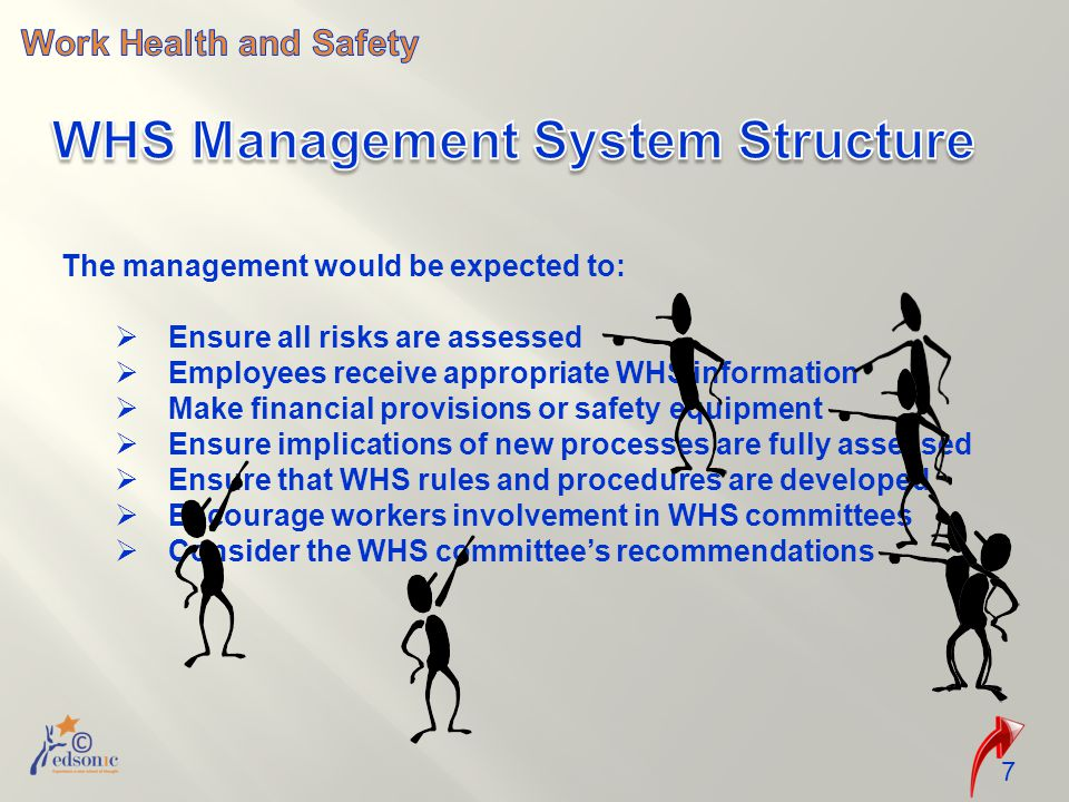 The management would be expected to:  Ensure all risks are assessed  Employees receive appropriate WHS information  Make financial provisions or safety equipment  Ensure implications of new processes are fully assessed  Ensure that WHS rules and procedures are developed  Encourage workers involvement in WHS committees  Consider the WHS committee's recommendations 7