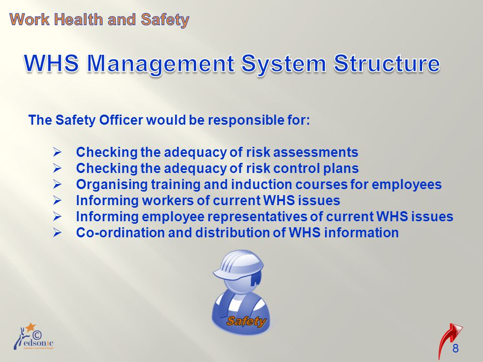 The Safety Officer would be responsible for:  Checking the adequacy of risk assessments  Checking the adequacy of risk control plans  Organising training and induction courses for employees  Informing workers of current WHS issues  Informing employee representatives of current WHS issues  Co-ordination and distribution of WHS information 8
