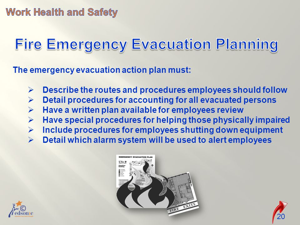 20 The emergency evacuation action plan must:  Describe the routes and procedures employees should follow  Detail procedures for accounting for all evacuated persons  Have a written plan available for employees review  Have special procedures for helping those physically impaired  Include procedures for employees shutting down equipment  Detail which alarm system will be used to alert employees