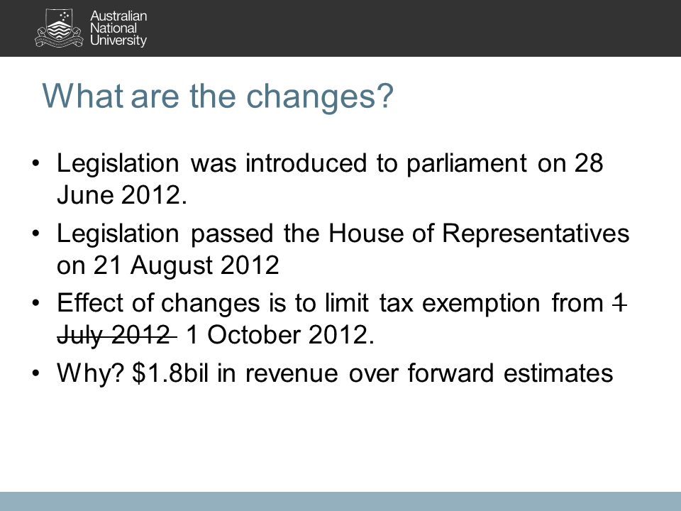 What are the changes. Legislation was introduced to parliament on 28 June 2012.