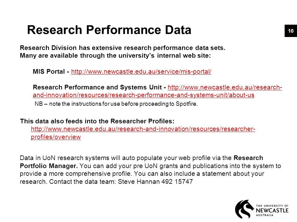Research Performance Data Research Division has extensive research performance data sets.