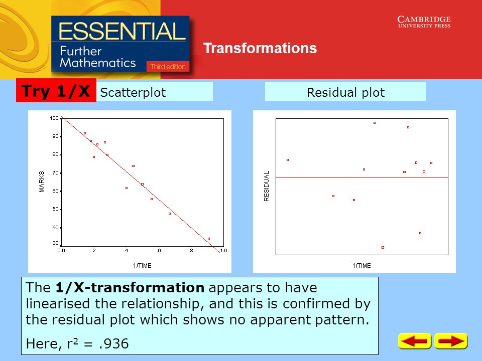 Transformations The 1/X-transformation appears to have linearised the relationship, and this is confirmed by the residual plot which shows no apparent pattern.
